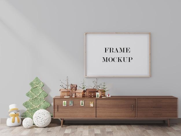 Empty frame mockup with christmas design 3d render Premium Psd