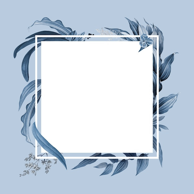 Empty frame with blue leaves design Free Psd