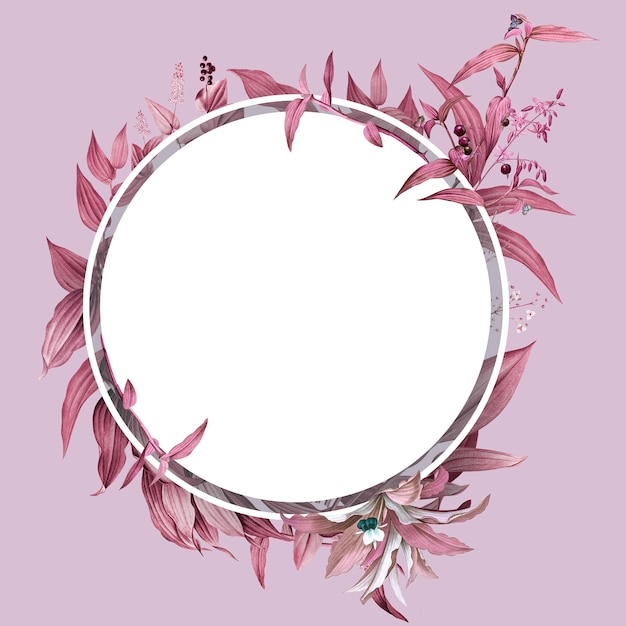 Empty frame with pink leaves design Free Psd