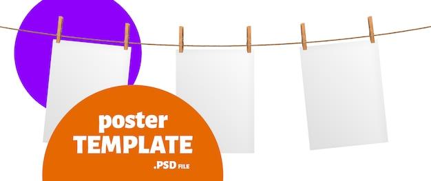 Пустой лист бумаги висит на веревке макет, плакат шаблон Premium Psd