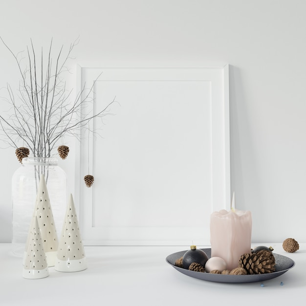 Empty photo frame and decorative branches Free Psd