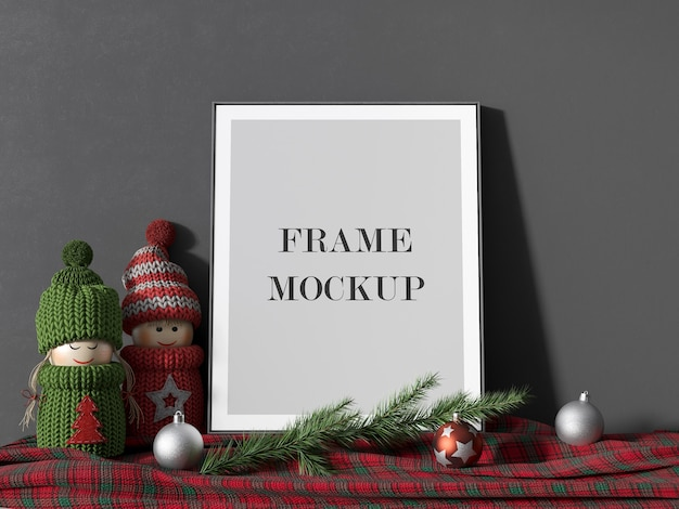 Empty picture frame mockup for new year holiday Premium Psd