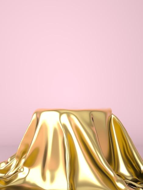 Пустой подиум, покрытый золотой тканью Premium Psd