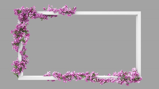 Empty rectangle frame with pink bougainvillea watercolor filter Premium Psd