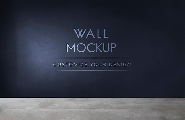 Empty room with a black wall mockup Free Psd