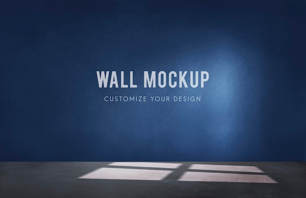 Empty room with a blue wall mockup Free Psd
