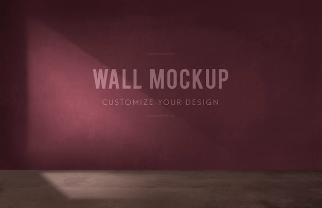 Empty room with a burgundy wall mockup Free Psd