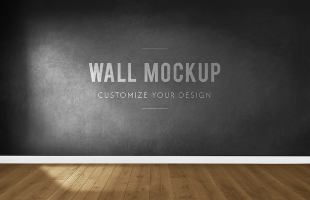 Empty room with a dark gray wall mockup Free Psd