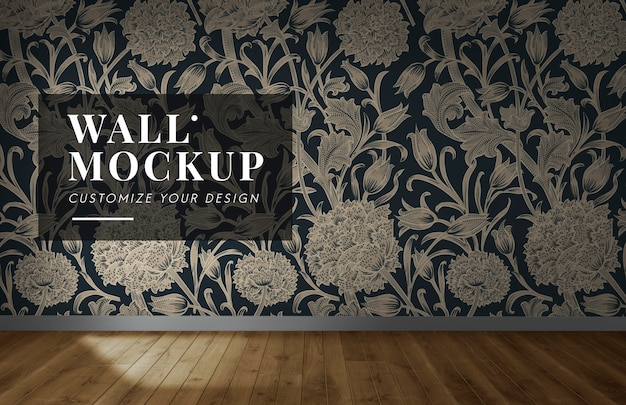 Empty room with a floral wall mockup Free Psd
