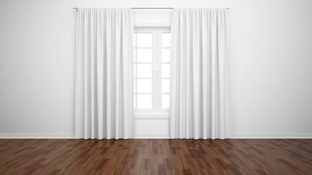창과 흰색 커튼, 쪽모이 세공 마루가있는 빈 방 무료 PSD 파일