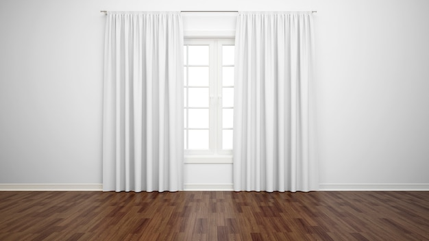 Empty room with window and white curtains, parquet floor Free Psd