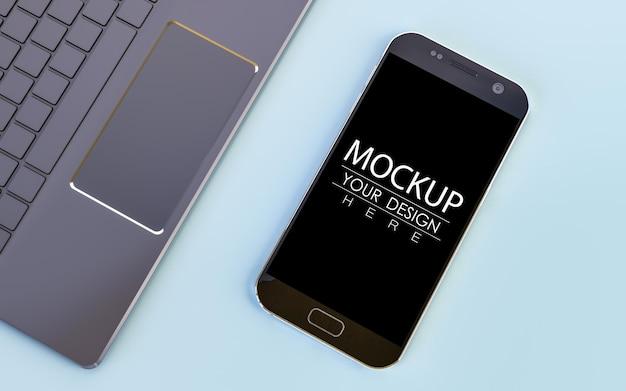 空の画面のスマートフォンのモックアップ 無料 Psd