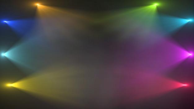 Пустая сцена с красочными прожекторами Premium Psd