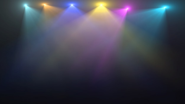 Empty stage with colorful spotlights Premium Psd