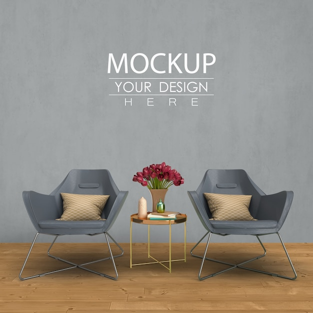 Empty wall mock up with home decorating in the living room modern interior. Free Psd