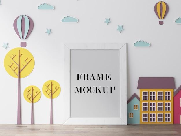 Пустая белая рамка для детских фотографий 3d-рендеринг макета Premium Psd