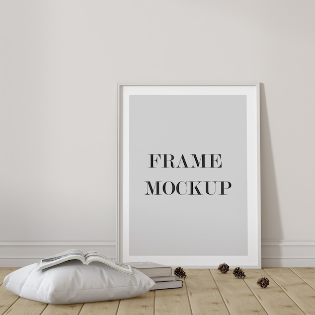 Empty white frame mockup with pillow Premium Psd