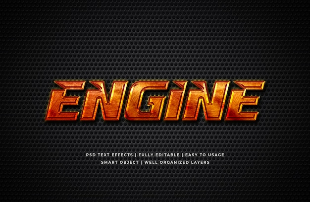Engine 3d text style effect mockup Premium Psd