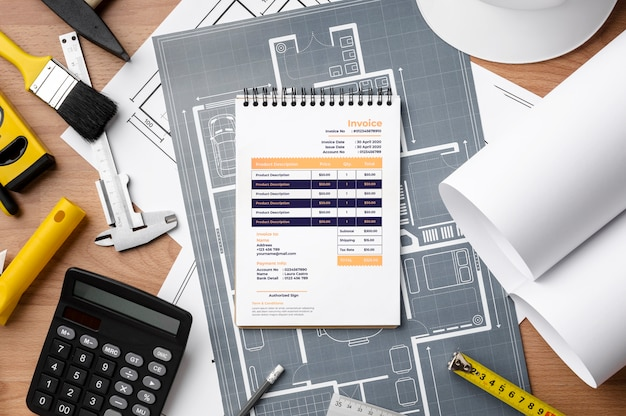 Engineering tools with notepad mock-up Free Psd