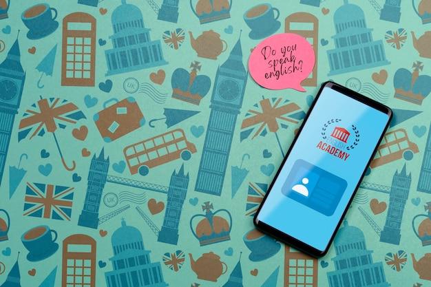 Modello di smartphone dell'accademia inglese Psd Gratuite