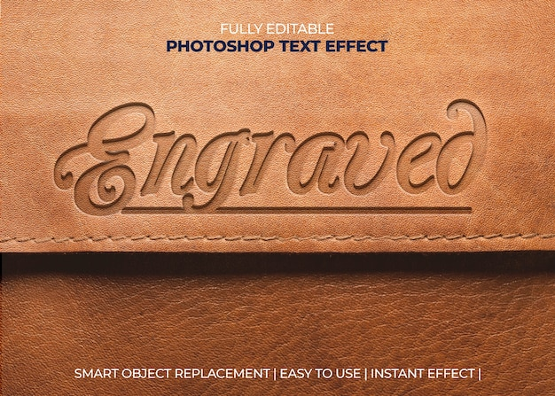 Engraved leather text effect Free Psd