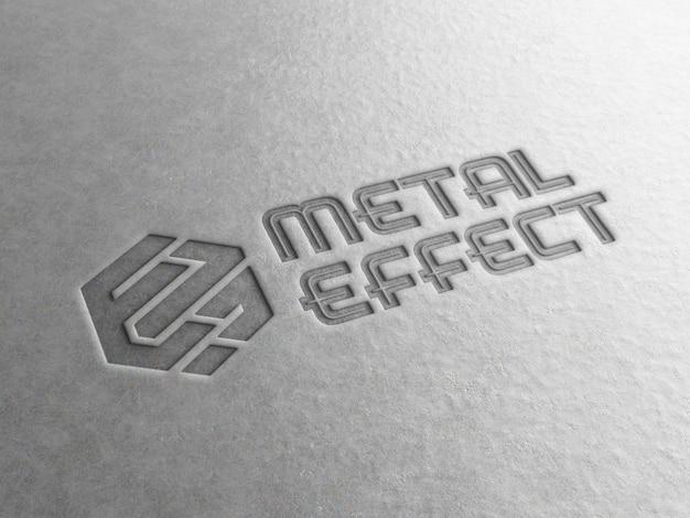 Engraved logo on metal plate mockup Premium Psd