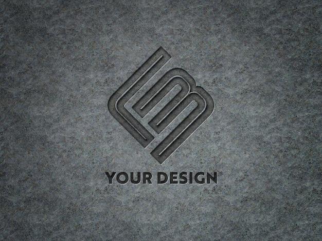 Гравированный логотип на металлической пластине макет Premium Psd