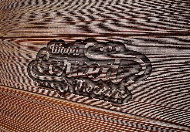 Выгравированный текстовый эффект на деревянной доске текстуры мокап Premium Psd