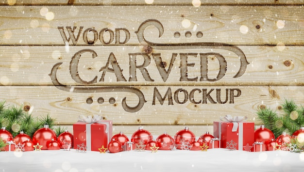 Engraved wood mockup with christmas baubles Premium Psd
