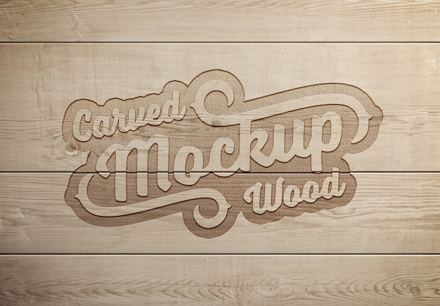 Engraved wood text effect mockup Premium Psd