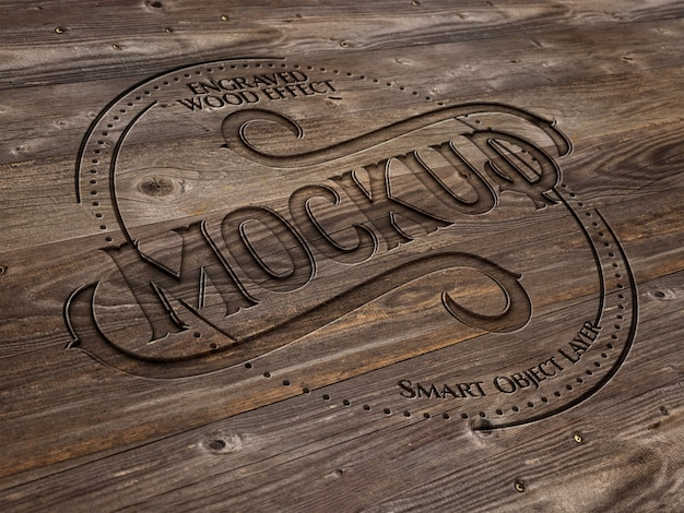 Engraved wood text effect Premium Psd