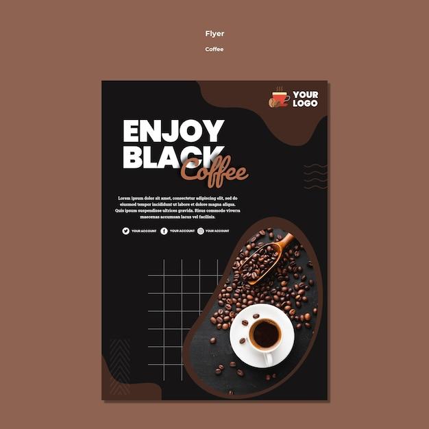 Наслаждайтесь шаблоном флаера черного кофе Бесплатные Psd