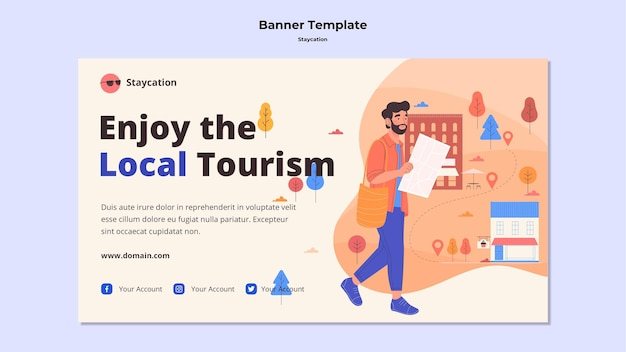 Enjoy local tourism banner style Free Psd