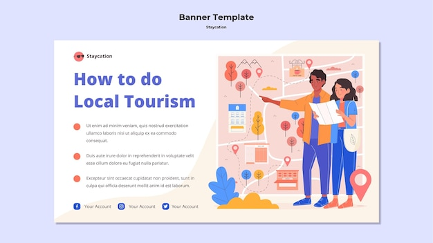 Enjoy local tourism banner template Free Psd