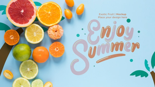 Enjoy summer with collection of exotic fruits Free Psd