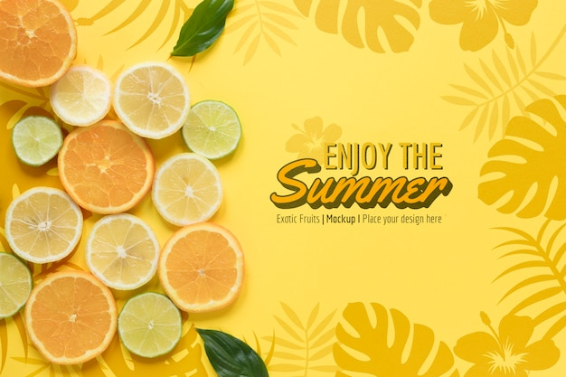 Enjoy the summer with oranges mock-up Free Psd