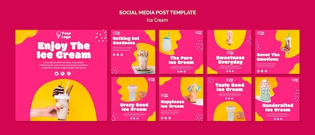 Наслаждайтесь постом в социальных сетях о мороженом Бесплатные Psd