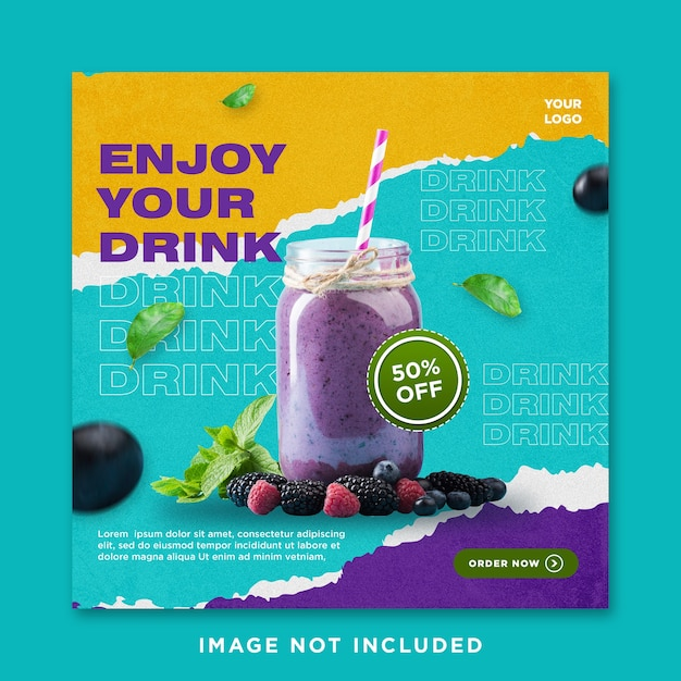 Enjoy your drink sale social media instagram post template Premium Psd
