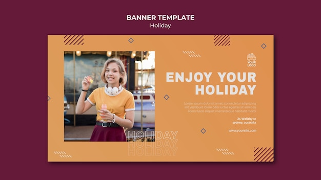 Enjoy yourholiday banner template Free Psd