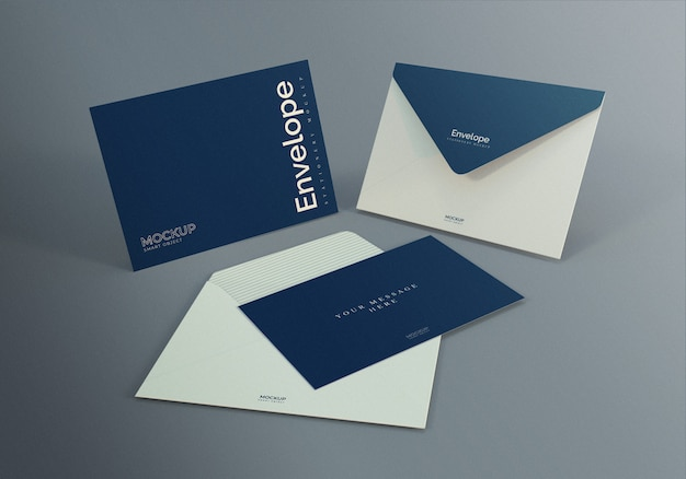 暗い灰色の背景を持つ封筒モックアップデザインテンプレート Premium Psd