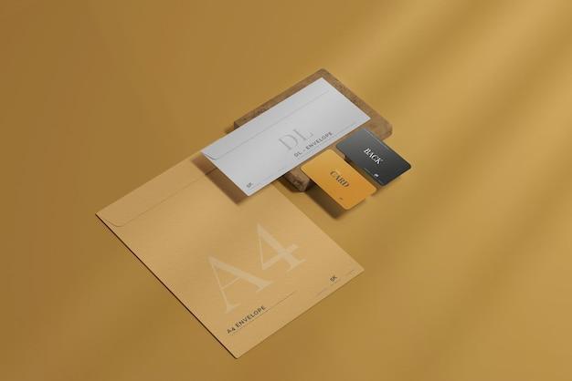명함 모형이있는 봉투 무료 PSD 파일