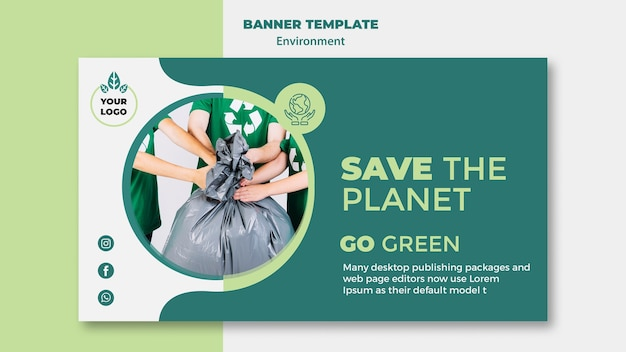 Environment banner template mock-up Free Psd