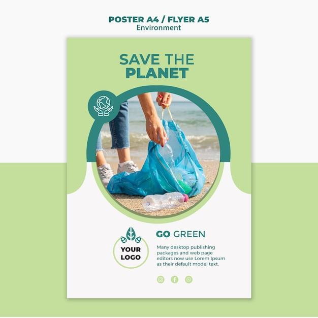 Макет концепции плаката окружающей среды Premium Psd