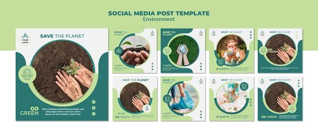 환경 소셜 미디어 게시물 템플릿 모형 프리미엄 PSD 파일