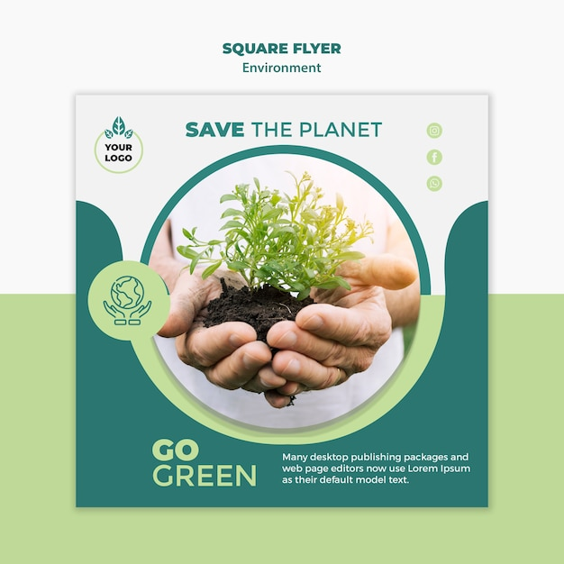 Environment square flyer mock-up Free Psd