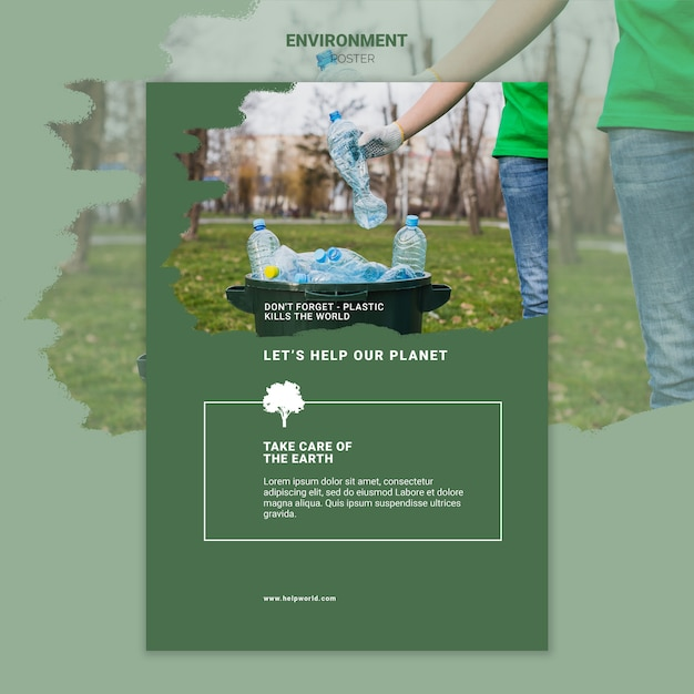 Environment take care of the earth poster Free Psd