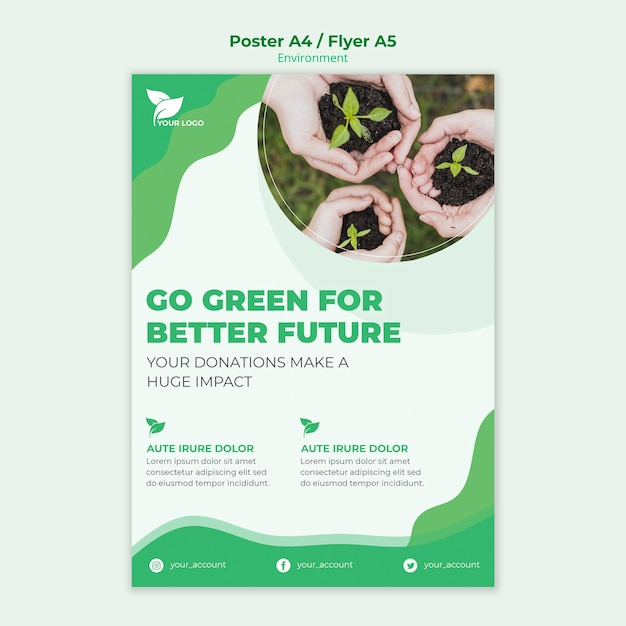 Environmental poster template concept Free Psd