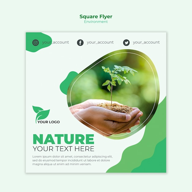 Environmental square flyer template Free Psd