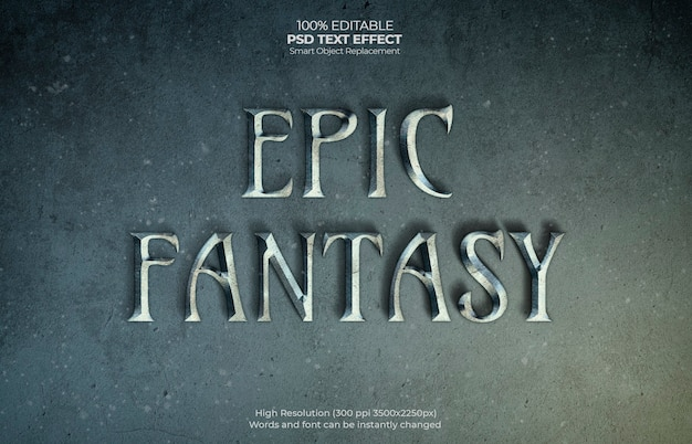 Epic fantasy text effect Psd Gratuite