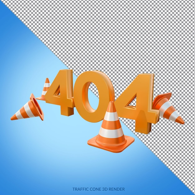 Erorr 404 с 3d визуализацией дорожных конусов Premium Psd
